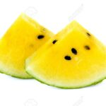 yellow watermelon slices on white background